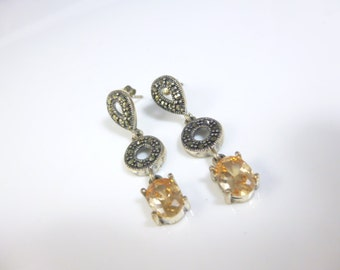 Marcasite Earrings, Sterling Silver Dangle Earrings, Citrine Earrings, Long Earrings