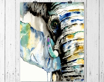 ELEPHANT PRINT, Elephant art, Elephant Watercolour, Safari Art, Safari watercolour, Elephant painting, African Elephant, African Art
