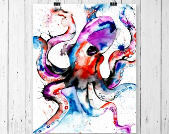 Large - OCTOPUR PRINT, octopus art, octopus watercolour, octopus watercolor, octopus painting, modern art, marine art, ocean art