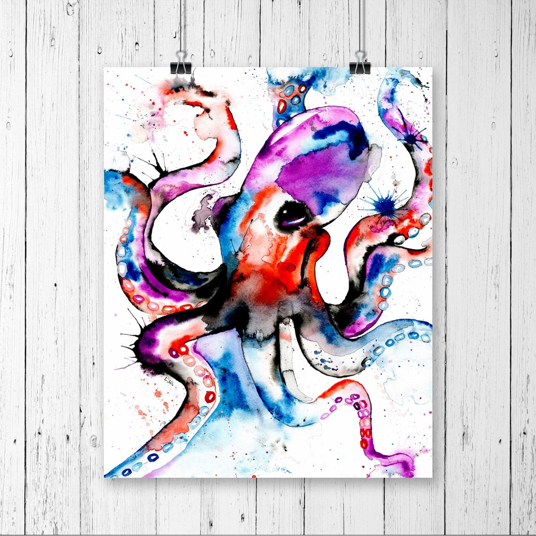 Four Elements Watercolour Artist Tuffytats: OCTOPUR PRINT Octopus Art Octopus Watercolour Octopus