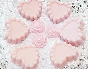Pink ruffled heart soap made with goat's milk
