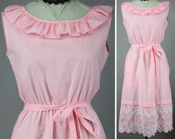 Vintage 60s Dress Pink Gingham Check Day Dress Sleeveless Ruffle Cotton Sun Dress Summer Dress Embroidered Eyelet M L