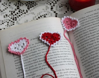 Heart Bookmark, Heart Bookmarker, One Crochet Heart Bookmarker, Card Filler