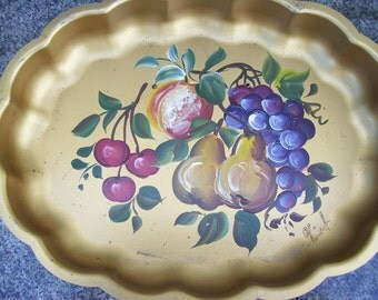 Metallic Gold Fruit Hand Painted Tole Metal Tray Serving Tray Metalware,Artist Signed,Vincent, Nashco Products