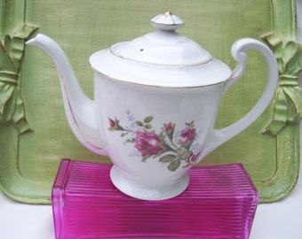 White Teapot Burgundy Roses Gold Highlights