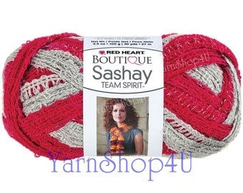 SALE! Team Spirit RED/GREY Red Heart yarn Sashay Boutique yarn colors Ruffle yarn Red and Grey Yarn fluffy scarf college team scarf yarn