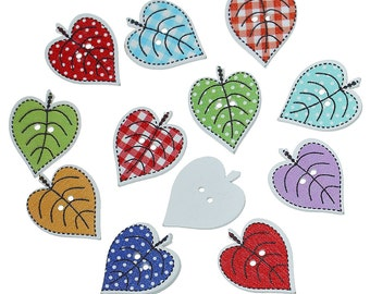 Wooden Assorted Summer Leaf Design Sewing Buttons. 24mm (2.4cm). Ideal for Sewing, Scrapbook and Crafts