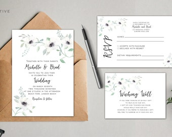 Wedding question cards for guests advice cards for guests printable wedding invitation suite floral flowers vintage garden watercolor custom stopboris Image collections