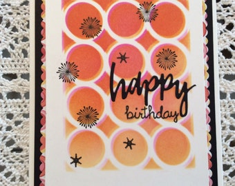 Handmade Greeting Card:  Birthday card with circles and star bursts