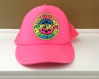 Vintage Surf Style neon pink hat
