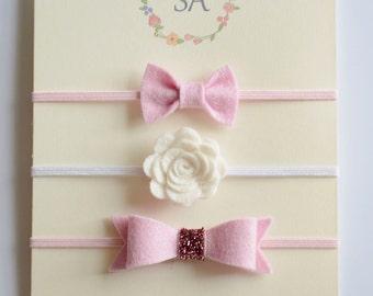 Baby Headband in Baby Pink  - 100% Felt Baby Headband, Newborn Headband, Baby Girl Headband, Flower Headband