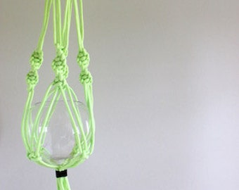 Neon macrame planter in yellow/green