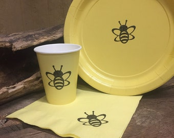 Bumble Bee Party Cups, Plates and Napkins, Bee Birthday Party, Bee Baby Shower, Yellow and Black Glitter