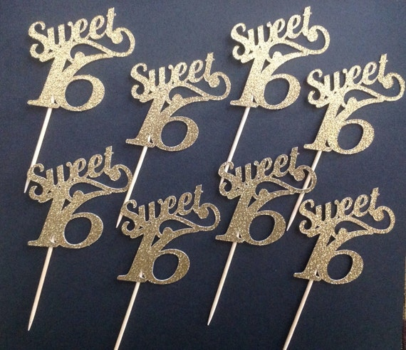 Sweet 16 Birthday Cupcake Toppers Glitter Cupcake Toppers