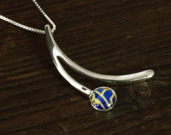 Silver Pendant - Blue/Gold Wishbone