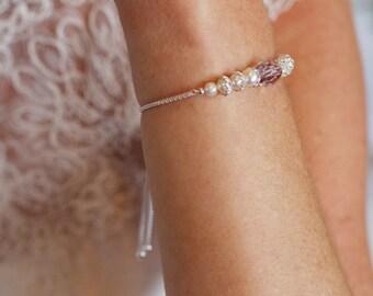 Pearl bridal bracelet - Bridal bracelet - Slider bracelet- Freshwater pearl - Bridesmaid bracelet - Wedding jewellery - Pink amethyst