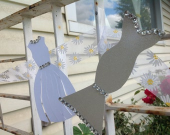 Glitter Grey White Wedding Dress Garland - Bridal Shower Decoration