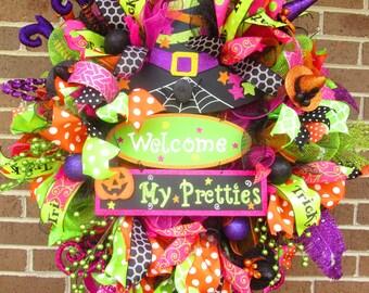Halloween Wreath, Witch Wreath, Halloween Mesh Wreath, Welcome My Pretties Wreath, Halloween Witch Wreath, Halloween Door Wreath