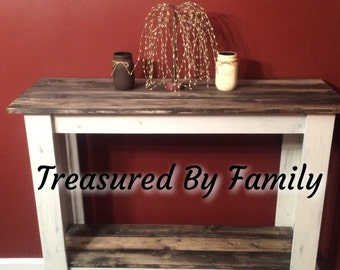 Distressed WhiteHall Table/Entry Table Library Table Buffet Table with barnwood Shelves