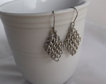 half persian sheet GSG diamond shaped chainmaille earrings