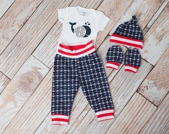 Personalized Nautical Anchors Summer Baby Pants, Hat, and Mitts Set with Whale and Initials Bodysuit in Red Stripe Trim/Navy