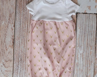 Pink with Gold Deer Antlers/Horns Baby Gown Baby Shower Gift~ Sizes Preemie, NB, 3 m, 6m~ Personalized Glittery Vinyl or Embroidery