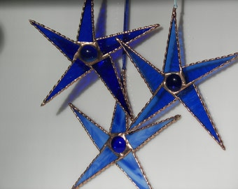 Set of Three Stars, Stained Glass Stars Blue, Blue star suncatcher, Blue Star Ornament