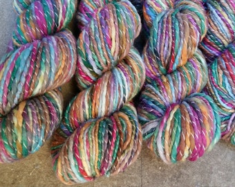 Handspun, Hand dyed, thread ply merino wool yarn - BRIGHT&BOLD