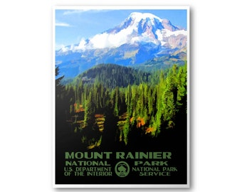 Mount Rainier National Park Travel Poster