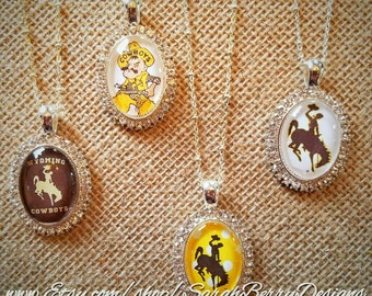 Wyoming Cowboys Oval Rhinestone Pendant-Officially Licensed University of Wyoming Product-307-Steamboat-Pistol Pete-Bucking Horse and Rider
