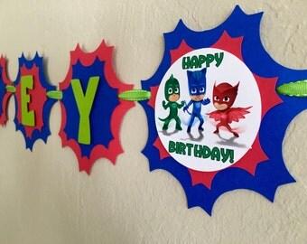 "NEW STYLE ""2 IN 1"" Pj Masks Birthday Banner, Pj Masks Birthday, Pj Masks Party, Pj Masks Shirt, Pj Masks Birthday Party, Pj Masks Decor"