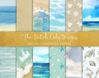 Digital Scrapbook Paper - Summer At Sea - 12 papers in .JPEG Files - INSTANT DOWNLOAD