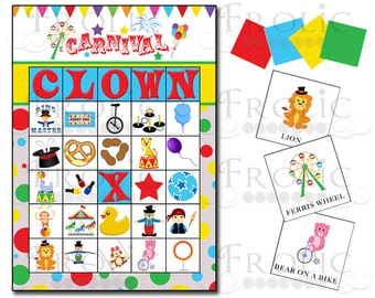 Circus Carnival Bingo 10 printable cards INSTANT DOWNLOAD