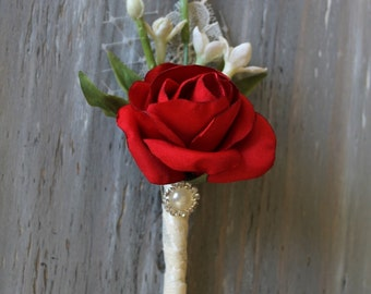 Red Wedding Boutonniere Grooms Boutonniere Groomsmen Boutonniere Mens Wedding Boutonniere Red Boutonniere Wedding Accessories  Boutonniere