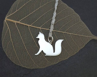 Sterling silver fox pendant