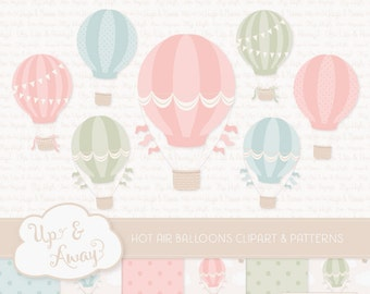 Grandmas Garden Hot Air Balloons Clipart with Digital Papers - pastel hot air balloons clipart, hot air balloons vectors