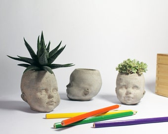 Concrete Head Planter- Statuette