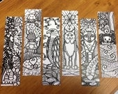 Set of 6 bookmarks to color, theme animals from Quebec, raccoon, turtle, Eagle, lynx, Fox, Otter