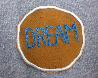 DREAM Hand Embroidered Patch Blue and Brown