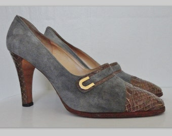 Elegant Vintage Pumps // Gray Suede And Brown Snakeskin // Melluso // Size 42 // Made In Italy