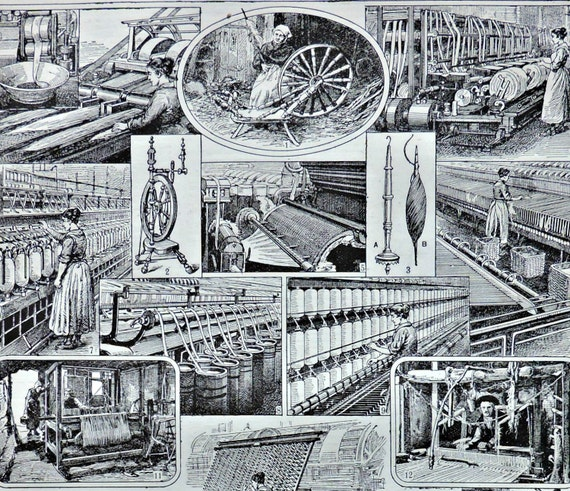 Weaving and spinning print. Old book plate, 1922. Antique  illustration. 94 years lithograph. 8'1 x 11'4 inches.