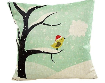Winter Snow Bird - Pillow Cover