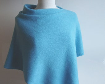 Poncho Knitted in Lambswool - British Spun Wool - Colour Rich Aqua