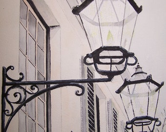 watercolor painting. painting of lanterns, black lanterns, old building, gas lanterns, original watercolor painting, art show and sale