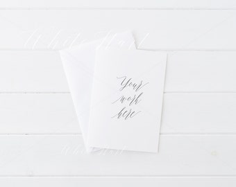 Styled stock photography - A5 minimal stationery mockup - card and envelope - High Res Jpeg + Psd Smart object - weddings, card, invitations