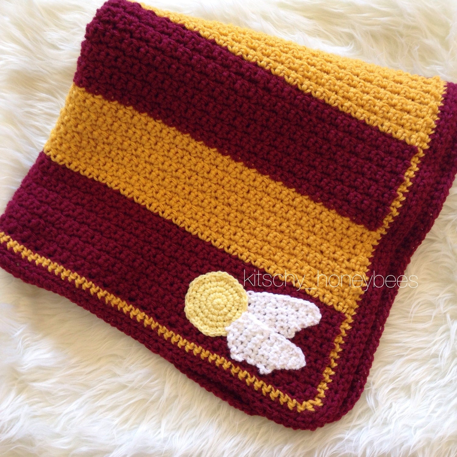 crochet harry potter baby blanket gryffindor by. Black Bedroom Furniture Sets. Home Design Ideas
