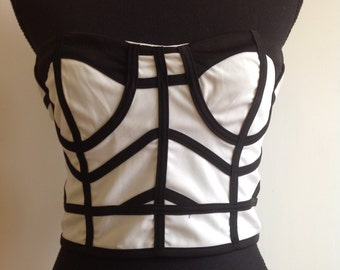 Short black and white vintage top