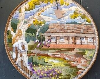 Cottage Scene Embroidery Hoop