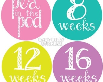 Pregnancy Stickers, Maternity Stickers, Belly Stickers, Belly Bump Sticker, Weekly Pregnancy Stickers