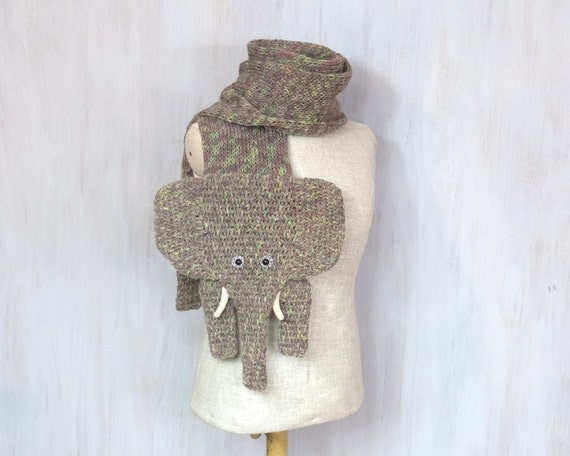 Knitted crochet elephant shaped scarf very long animal